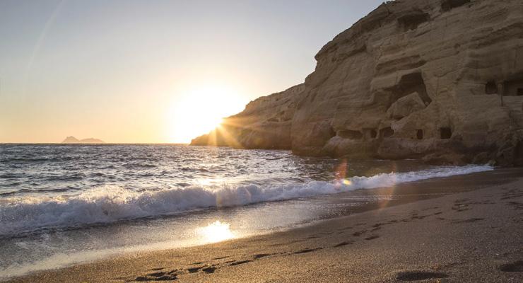 Sunset view of Matala beach